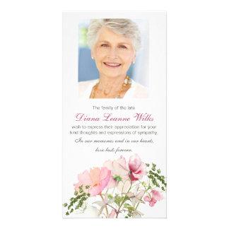 Carte de remerciements funèbre floral doux de