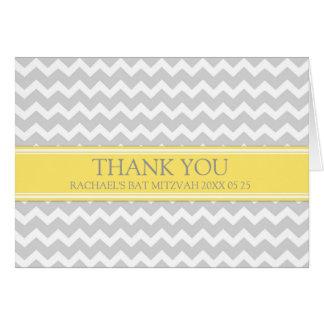 Carte de remerciements gris de bat mitzvah de