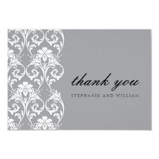 Carte de remerciements gris de mariage de dentelle faire-parts