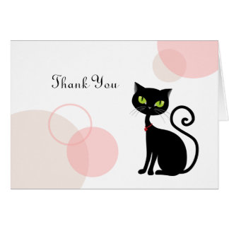 Carte de remerciements impertinent de chat noir