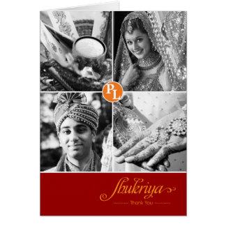 Carte de remerciements indien de photo du mariage