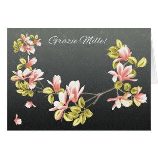 Carte de remerciements italien avec la magnolia