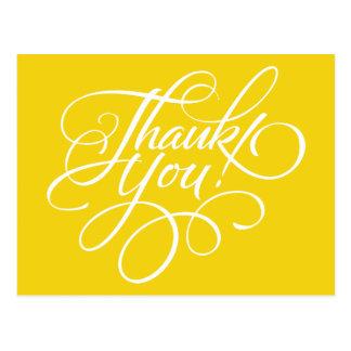 Carte de remerciements jaune citron de manuscrit