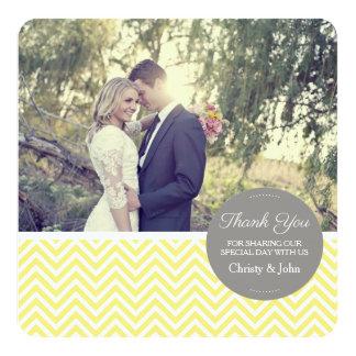 Carte de remerciements jaune de mariage de Chevron Carton D'invitation 13,33 Cm