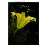 Carte de remerciements jaune d'hémérocalle