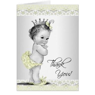 Carte de remerciements jaune vintage de princesse