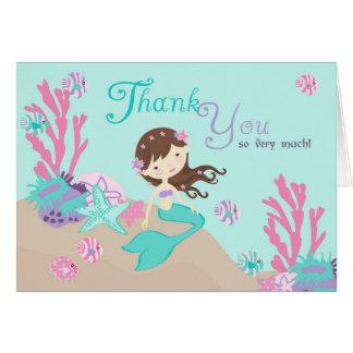 Carte de remerciements léger de sirène de brune