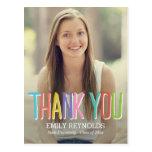 Carte de remerciements lumineux et coloré d'obtent carte postale