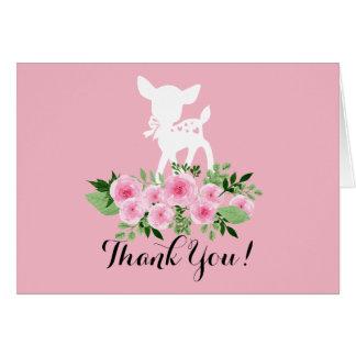 carte de remerciements mignon de cerfs communs