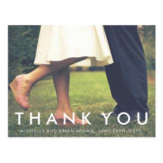 Carte de remerciements moderne de photo de mariage cartes postales