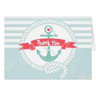 Carte de remerciements nautique avec l'ancre et la