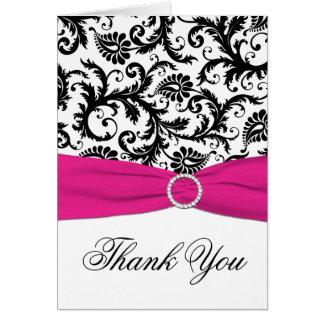 Carte de remerciements noir, blanc, et fuchsia de