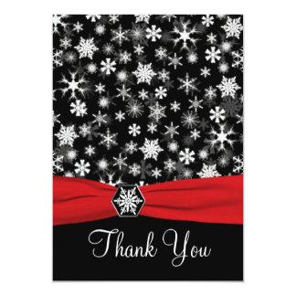 Carte de remerciements noir, blanc, rouge de carton d'invitation  12,7 cm x 17,78 cm