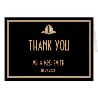 Carte de remerciements noir de mariage de Gatsby
