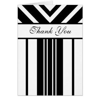 Carte de remerciements noir et blanc de chevrons