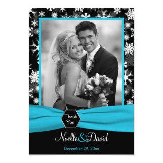 Carte de remerciements noir et blanc de flocons de carton d'invitation  12,7 cm x 17,78 cm