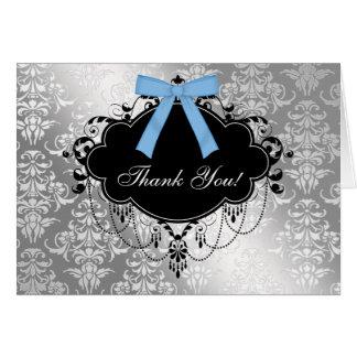 Carte de remerciements noir et bleu de baby shower