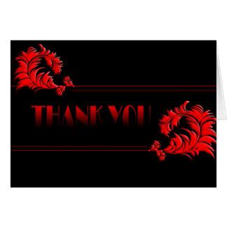 Carte de remerciements noir et rouge de damassé