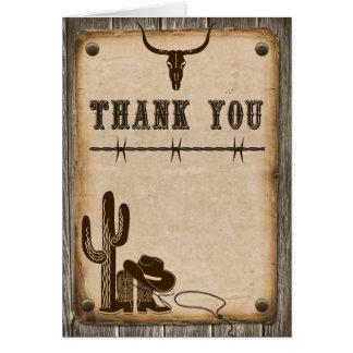 Carte de remerciements occidental en bois rustique