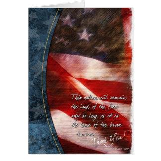 Carte de remerciements patriotique avec le drapeau