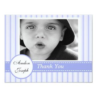 Carte de remerciements plat croisé bleu rayé invitations personnalisables