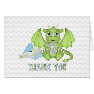 Carte de remerciements plié par dragon de bébé
