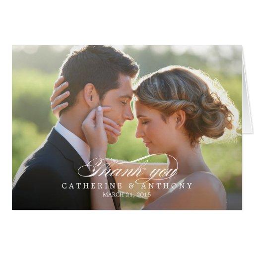 Carte de remerciements pur de mariage d'élégance -
