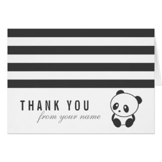 Carte de remerciements rayé de panda