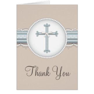 Carte de remerciements religieux beige de