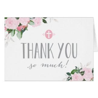 Carte de remerciements religieux blanc de fleurs