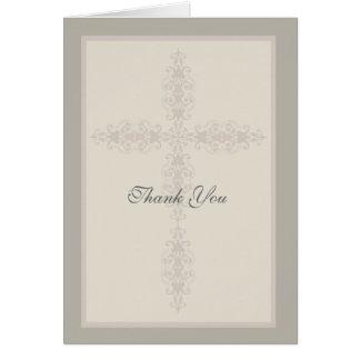 Carte de remerciements religieux de filigrane croi