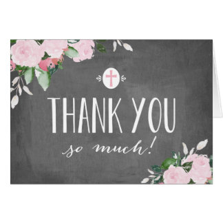 Carte de remerciements religieux de tableau floral