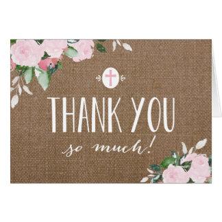Carte de remerciements religieux de toile de jute