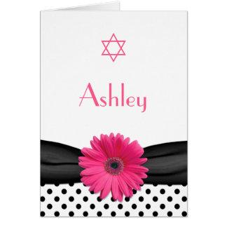 Carte de remerciements rose de bat mitzvah de