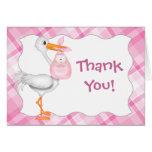 Carte de remerciements rose de bébé