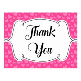 Carte de remerciements rose de coeurs