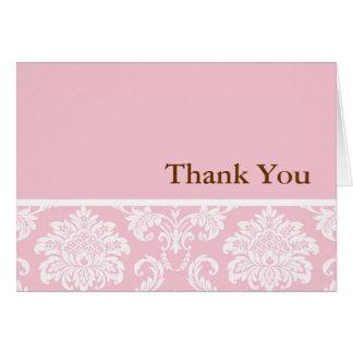 Carte de remerciements rose de damassé
