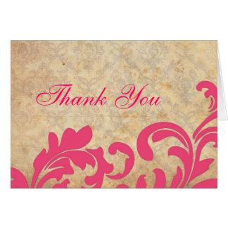 Carte de remerciements rose de damassé de remous