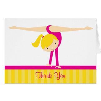 Carte de remerciements rose de gymnaste