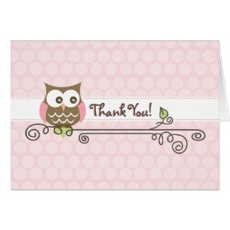 Carte de remerciements rose de hibou