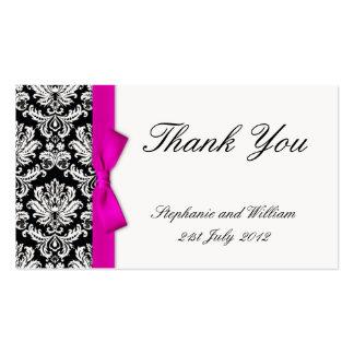 Carte de remerciements rose de mariage damassé carte de visite standard