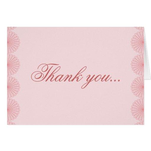 Carte de remerciements rose de mariage de dentelle