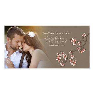 Carte de remerciements rose de mariage de Sakura Photocarte