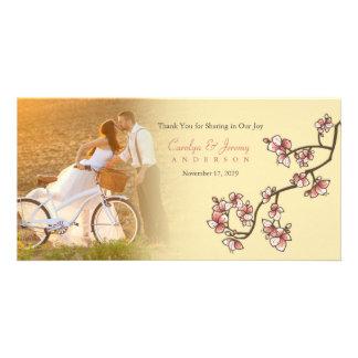 Carte de remerciements rose de mariage de Sakura Cartes De Vœux Avec Photo