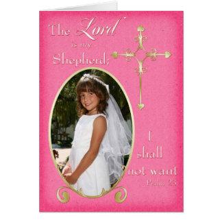 Carte de remerciements rose de photo de communion