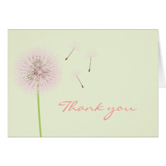 Carte de remerciements rose de pissenlit