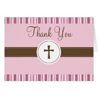 Carte de remerciements rose de rayure de baptême