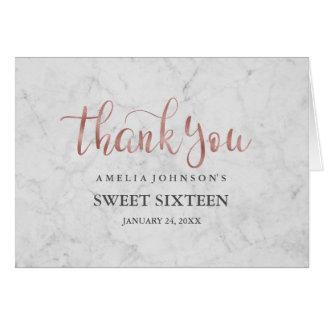 Carte de remerciements rose de sweet sixteen d'or