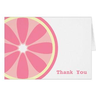 Carte de remerciements rose de tranche de citron