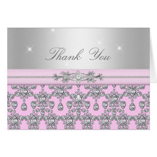 Carte de remerciements rose et argenté de diamant